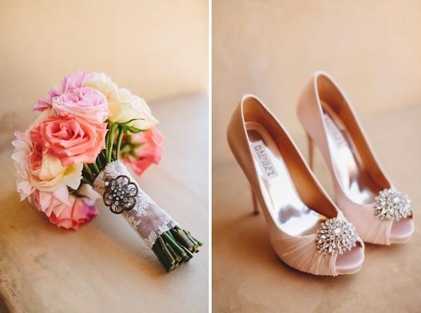 Brides gorgeous bouquet and shoes.