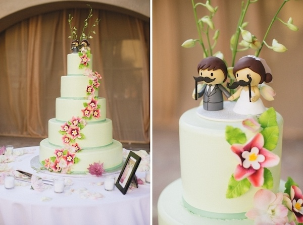 Adorable and funny cute cake topper with mustaches.