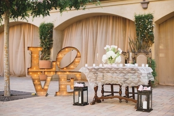 Fun love lights at wedding.