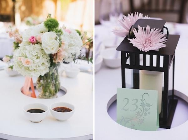 Beautiful table settings at wedding.