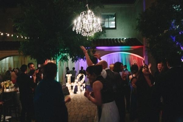 Fun dance party wedding lightning.