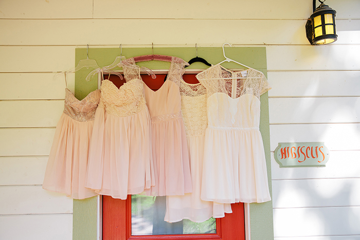 Lovely mismatched pink bridesmaid dresses