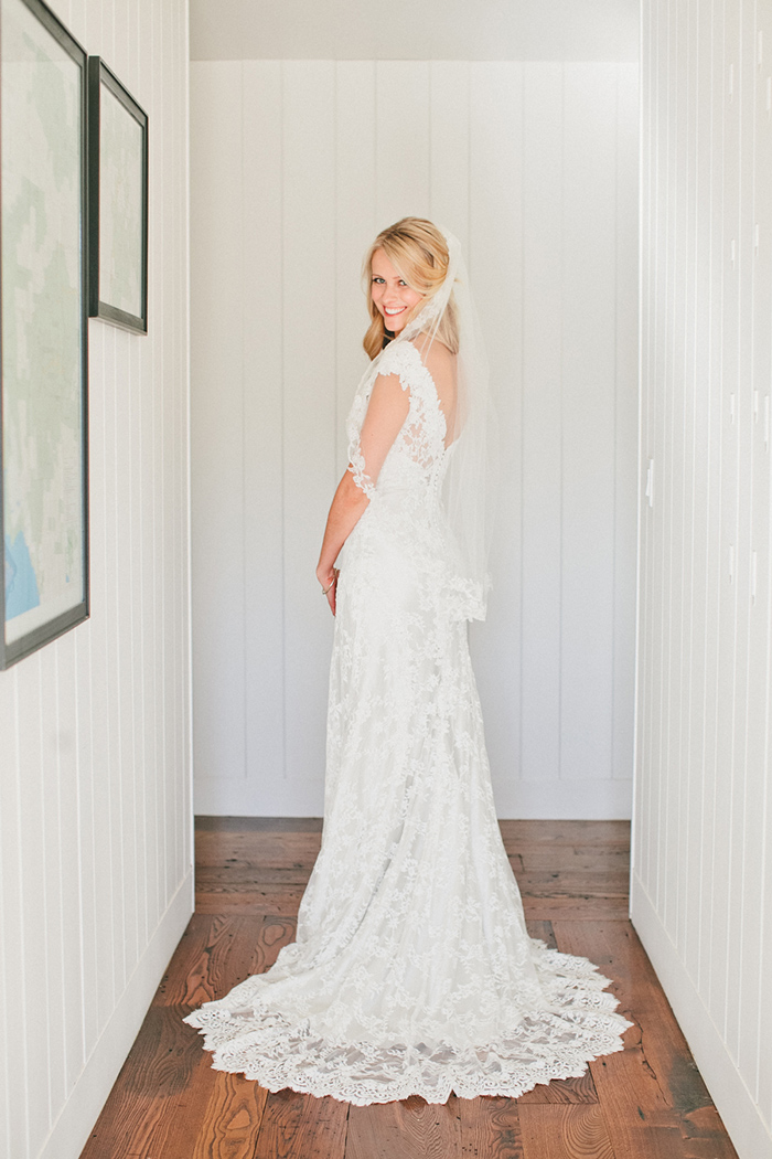 The bride in a beautiful lace wedding dress