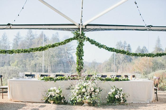 Gorgeous white and green wedding reception decor