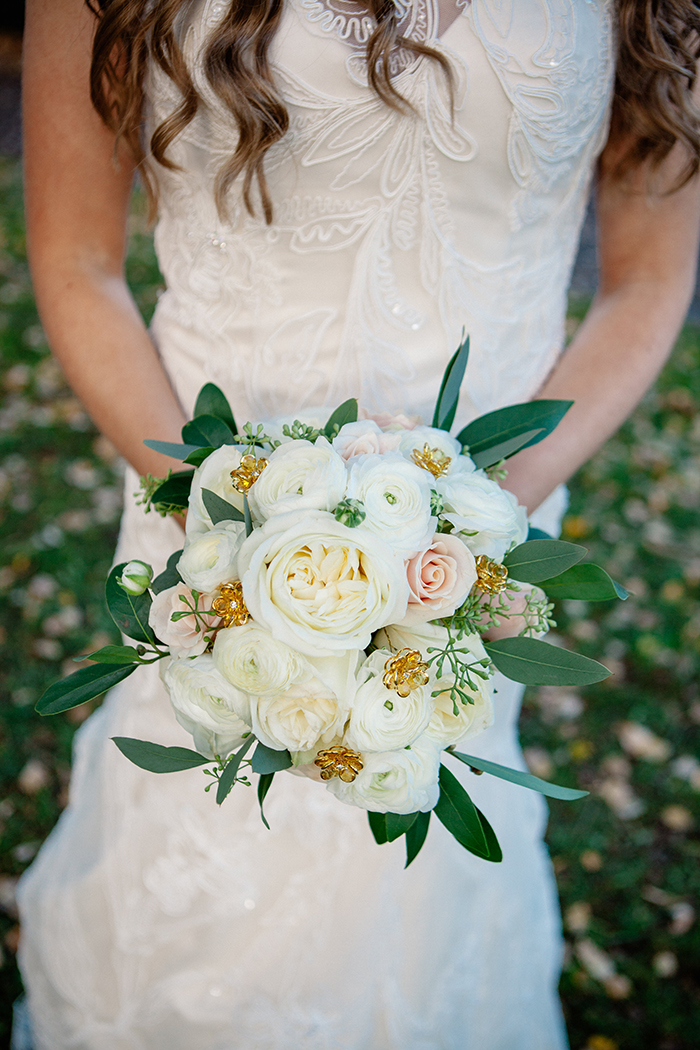 White, pink and gold wedding bouquet