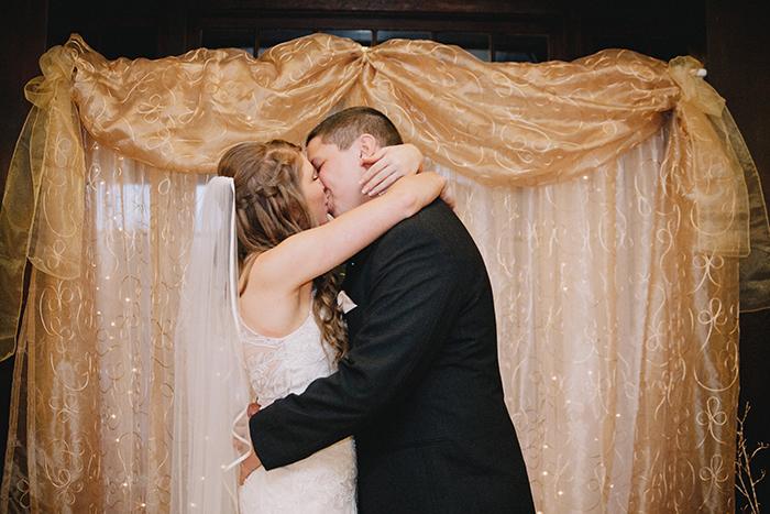 Beautiful wedding kiss photo