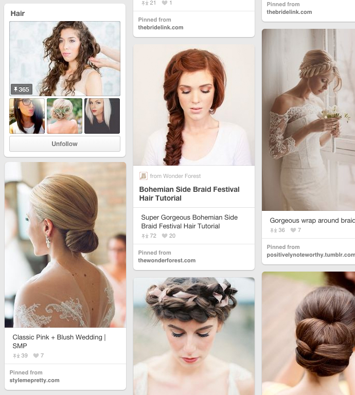 Awesome wedding hair pinterest board