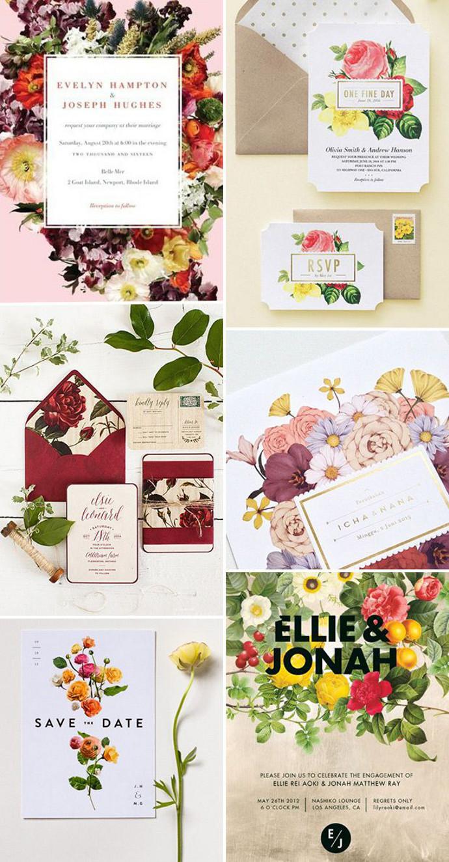 Photo by Clockwise:  Wedding Paper Divas ,  Wedding Paper Divas ,  Paper & Poste  via  WedLuxe ,  Cempaka Surakusumah ,  Lisa Hedge ,  Minted