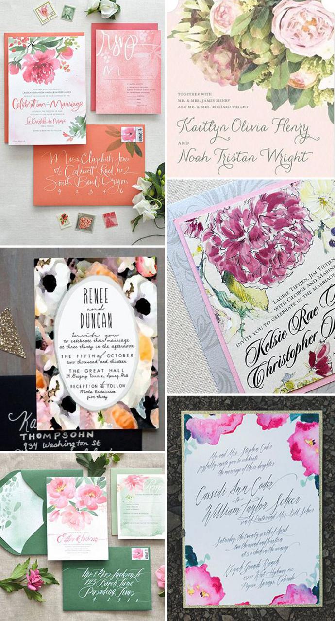 Photo by Clockwise:  Julie Song Ink  via  Style Me Pretty ,  Wedding Paper Divas ,  Hoopla Love ,  Momental Designs ,  Julie Song Ink ,  Gloria Joy Ink