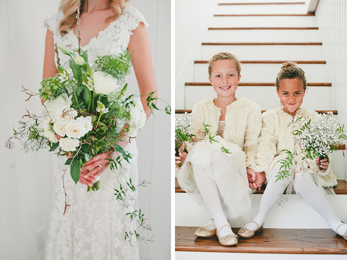 Wedding bouquet and the adorable flower girls