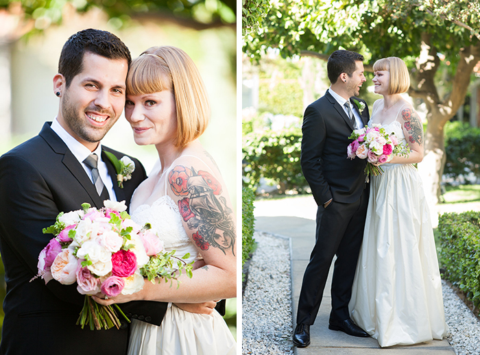 Beautiful tattooed bride and groom