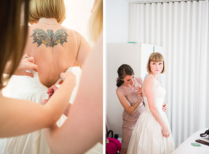 The bride in her dress for the first time — swoon!