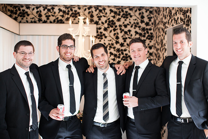 The groom and his groomsmen on the big day
