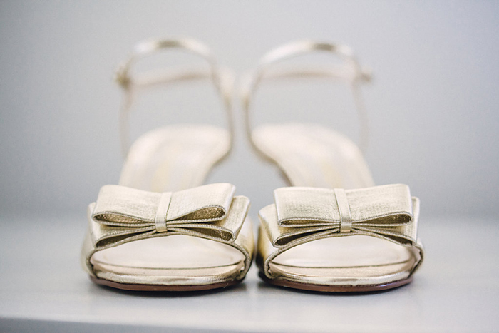 Low gold strappy heels for the bride