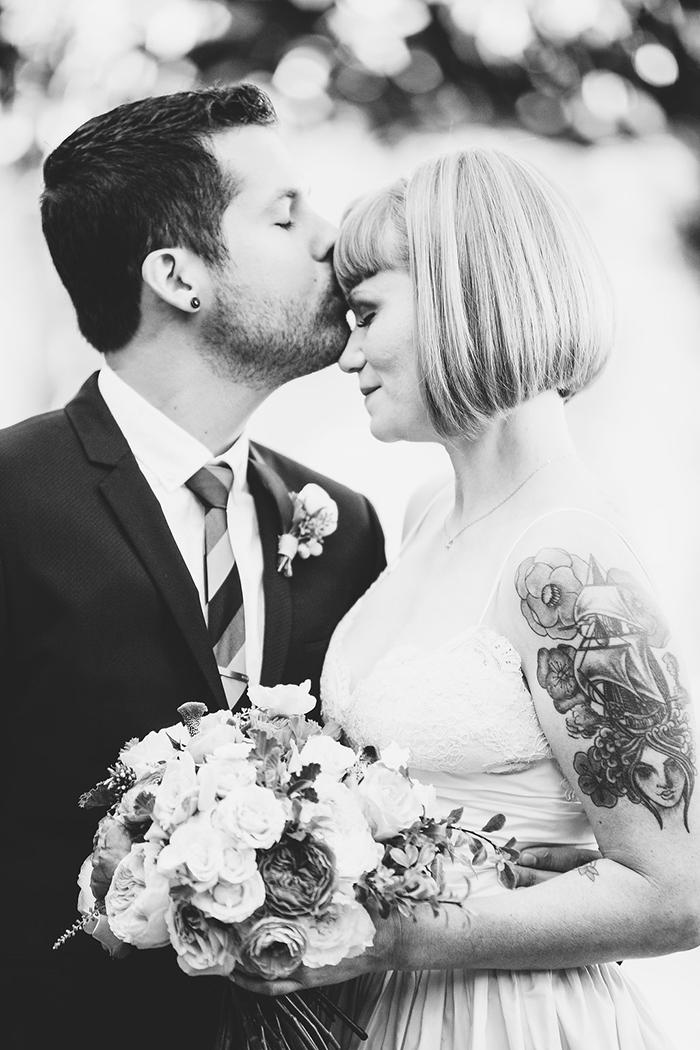 Retro rocker bride and groom wedding photo