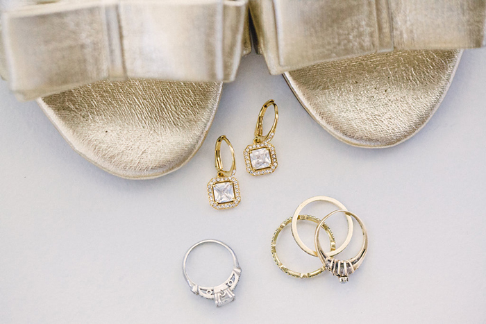 Gold heels and beautiful wedding jewelry