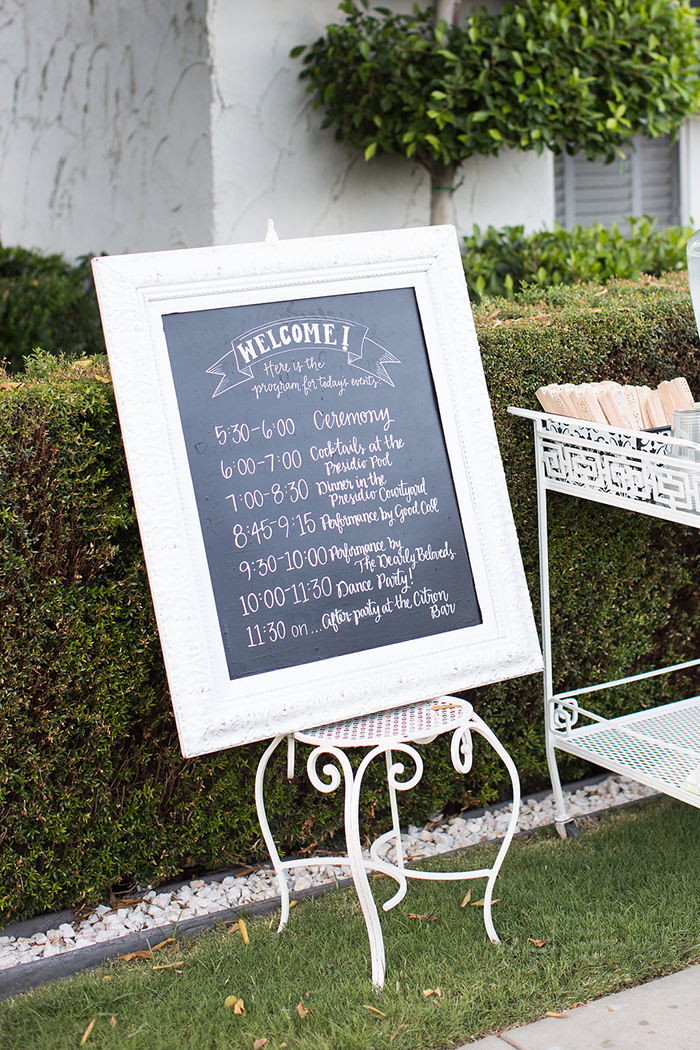 Simple wedding day schedule for guests