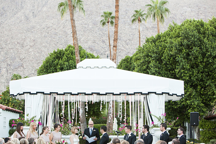 Gorgeous retro pink and gold wedding ceremony