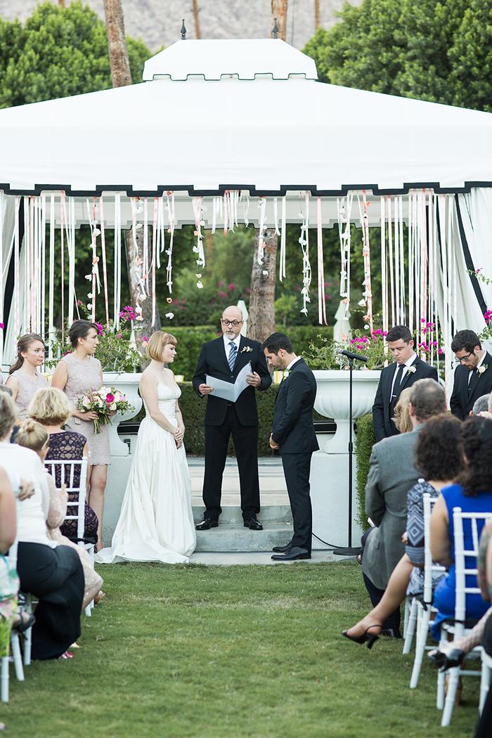 Retro pink and gold wedding ceremony