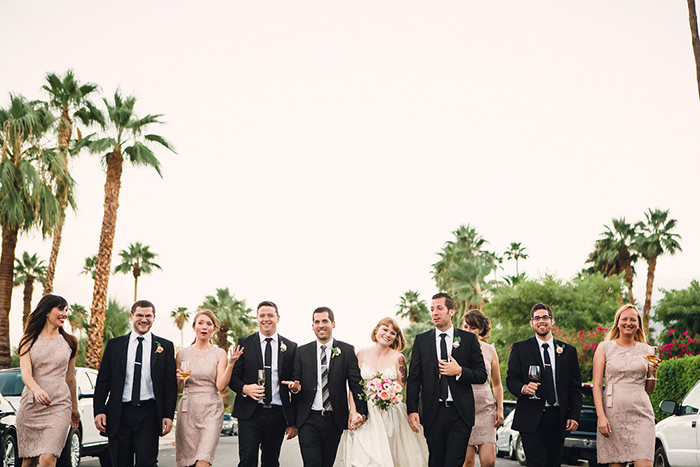 Fun bridal party photo in palm springs