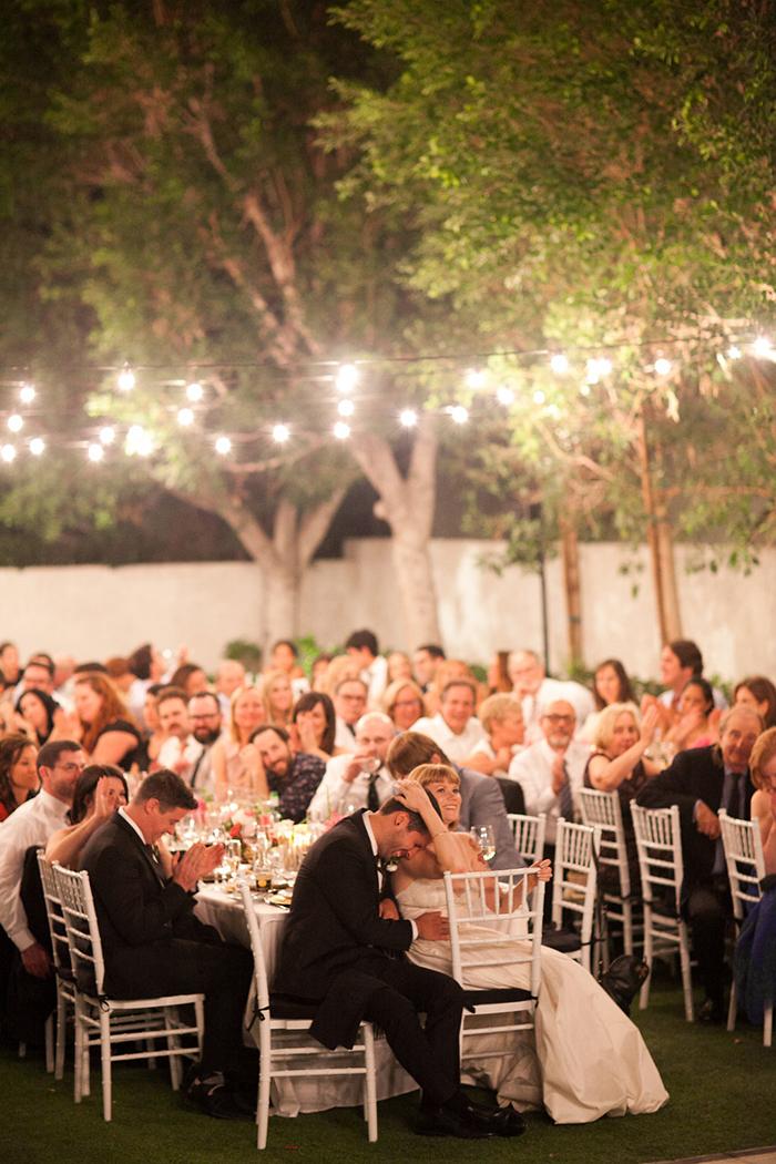 Pretty retro outdoor Palm Springs wedding reception idea