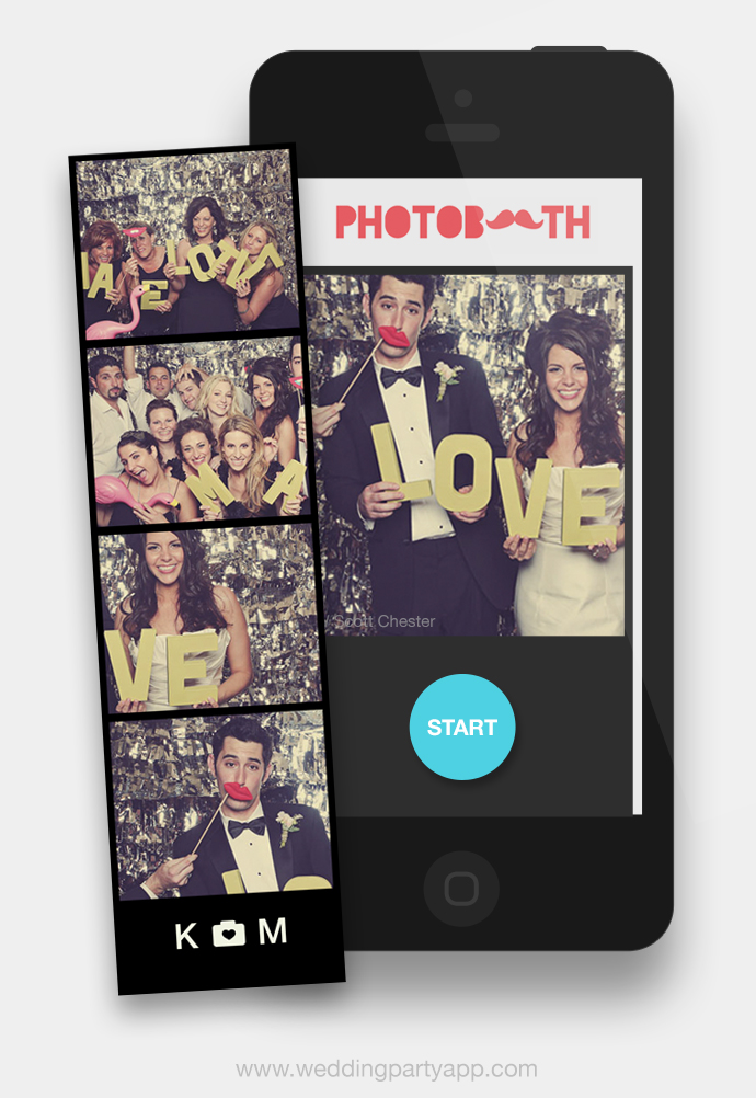 Wedding Party's super fun photo booth feature — it's a wedding photo booth on the phone, just for guests! Best of all, it'll capture every fun photo booth selfie so you and all guests will be able to share in the fun.