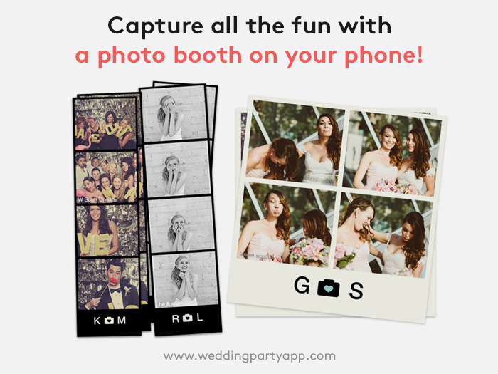 Digital photo strips from the Wedding Party app. You can get a photo booth right from your smart phone!