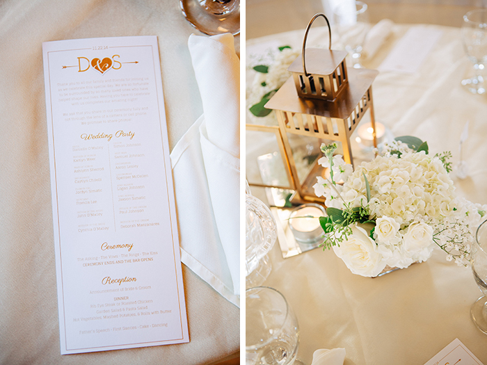 Stunning white and gold wedding decor