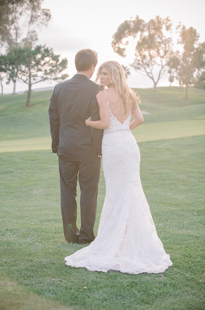 Stunning lace low back wedding dress
