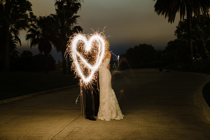 Romantic wedding sparkler photo