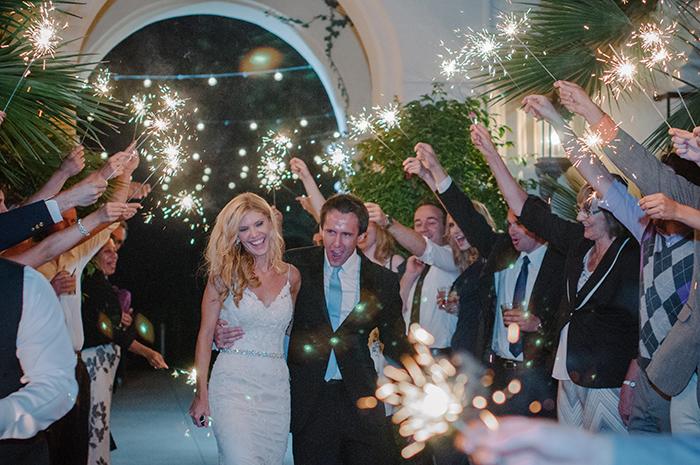 Wedding sparkler getaway photo