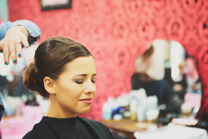 The bride getting her hair did