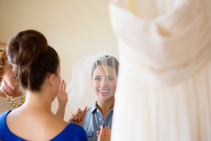 Sweet blusher veil on the bride to be