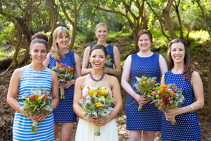 Retro polka dot bridesmaids dresses and stripes for the MOH!