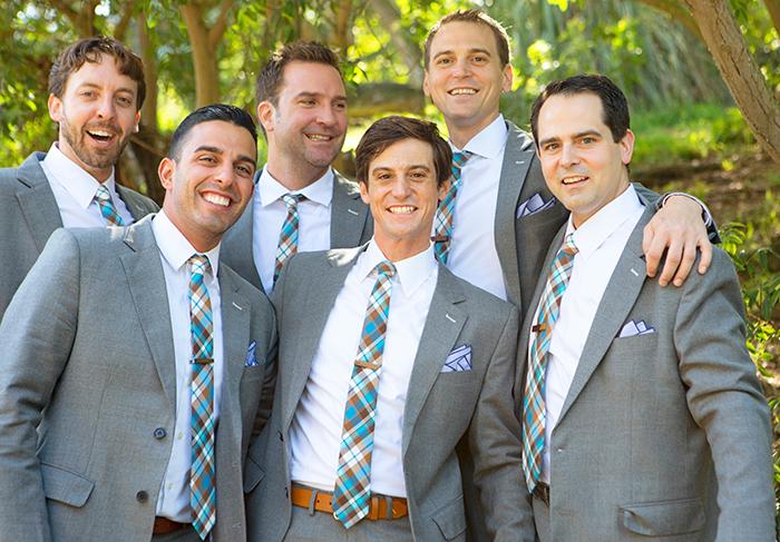 Fun retro groomsmen in gray