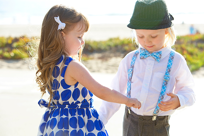 Cute retro flower girl and ring bearer outfits!