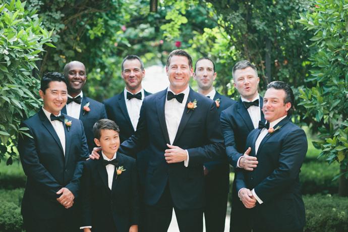 Groomsmen in navy suits. Dapper!