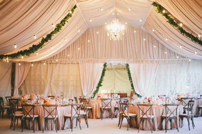 Gorgeous glam tented wedding decor