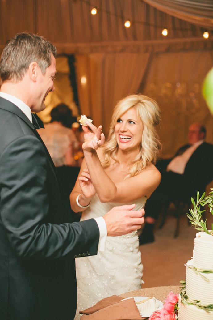 Cute cake cutting wedding photo