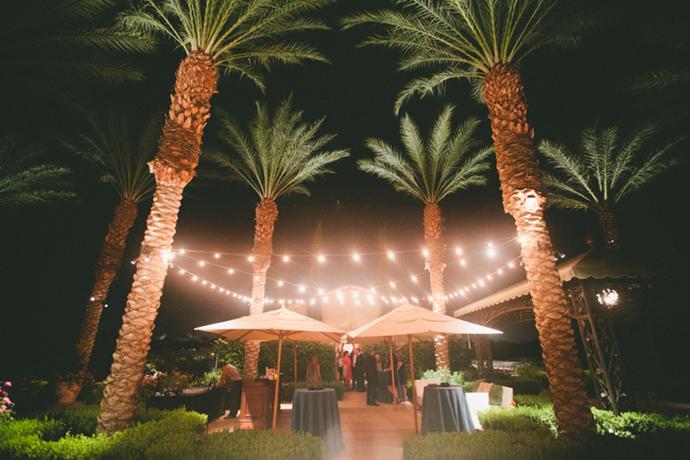 Stunning desert wedding reception lighting