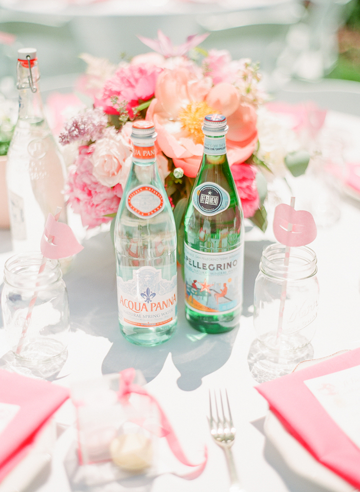 pink bridal shower table and decor