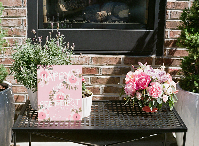 Beautiful pink backyard bridal shower decor