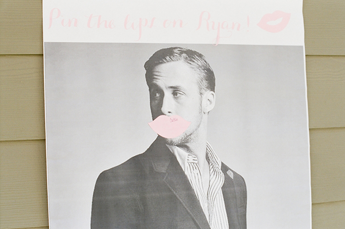 Sweet bridal shower game — Pin the lips on Ryan!