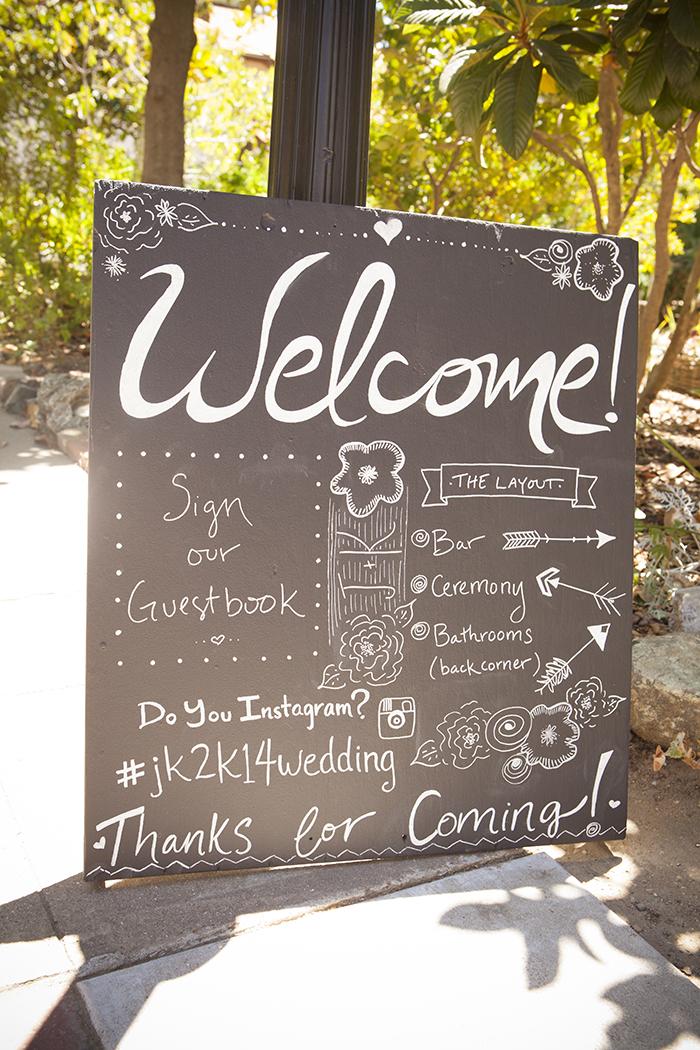 Fun handmade chalkboard wedding sign