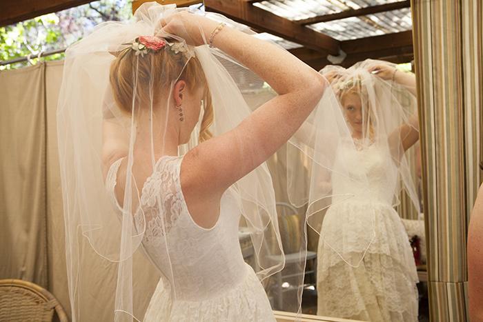 Gorgeous wedding veil getting ready photo