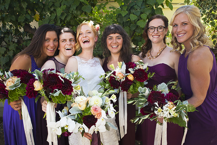Gorgeous bridal party in blue and fuchsia