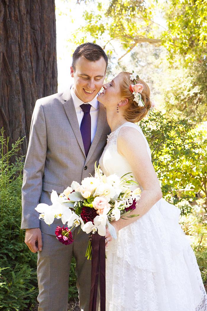Romantic rustic garden wedding bride & groom