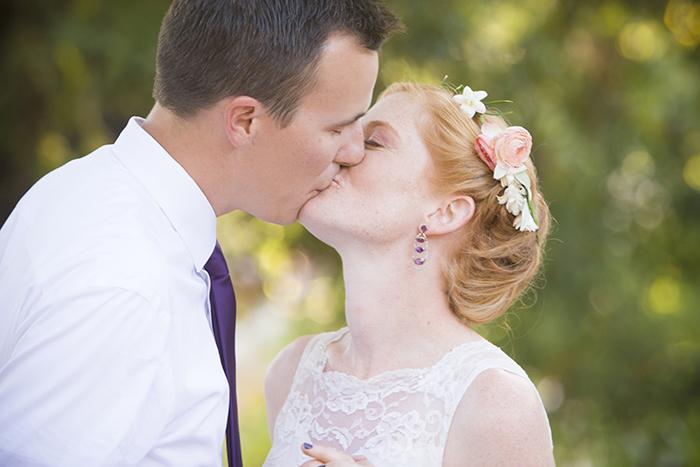 Lovely boho bride and groom photo