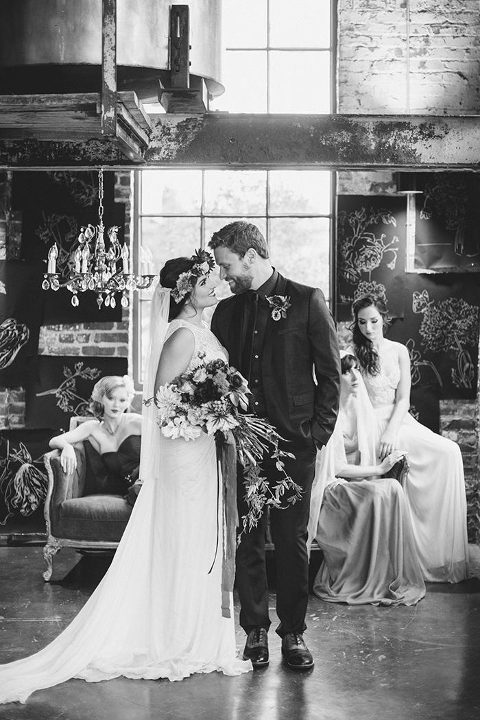 Gorgeous urban and boho loft wedding
