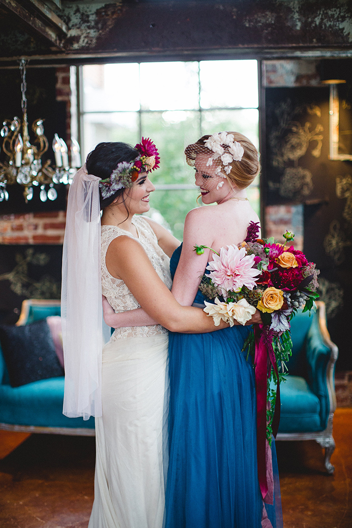 Lovely boho bride and her MOH in blue!